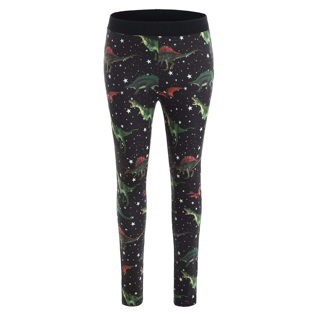 iCJJL High Waist Tummy Control Dinosaur Print Skinny Stretchy Running Workout Leggings for Yoga