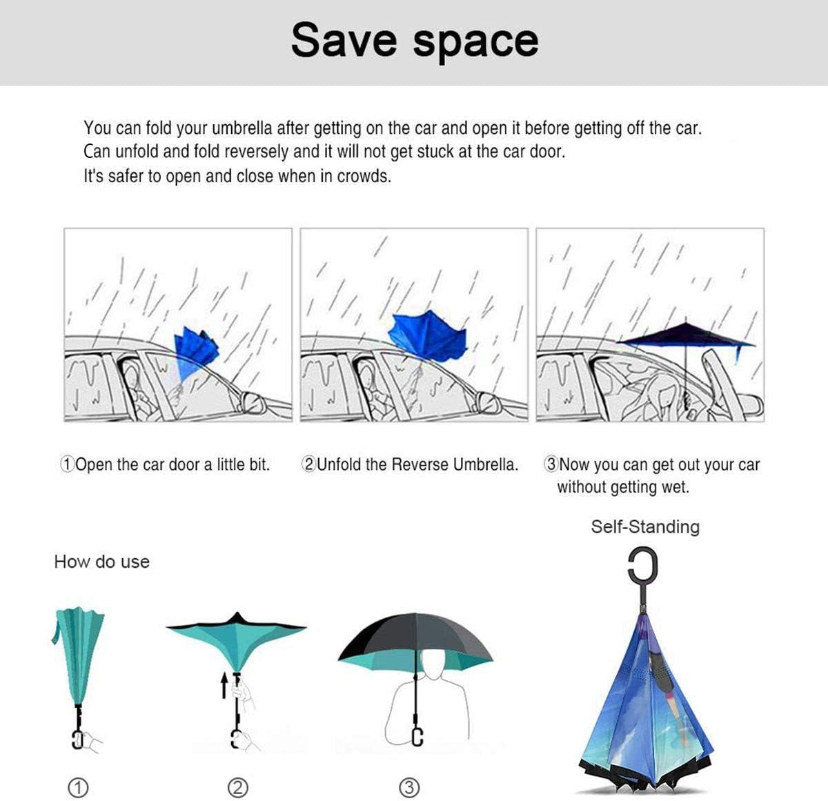 Windproof And Rainproof Double Folding Inverted Umbrella Naruto Car Reverse Umbrella With C-Shaped Handle UV Protection Inverted Folding Umbrellas