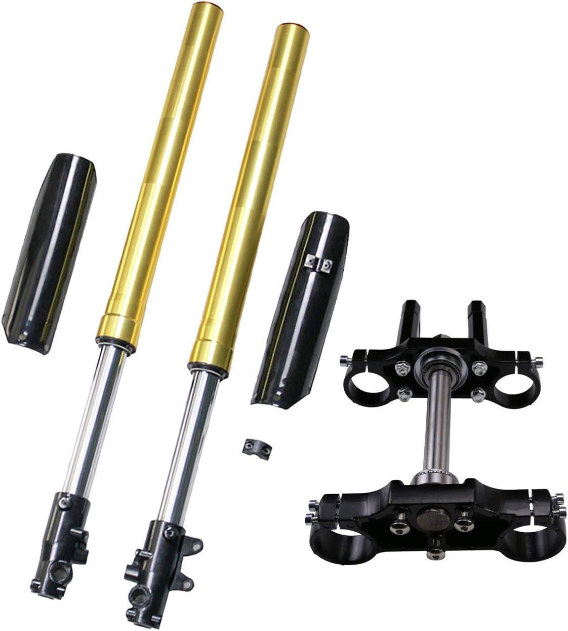 Front Forks Lower Upper Triple Tree Stem Clamp kIT for 49cc Mini Dirt Bike