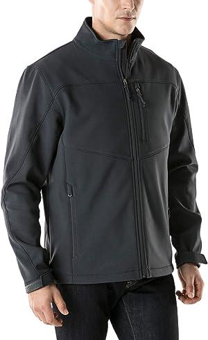 TSLA Men's Full-Zip Softshell Winter Jacket, Waterproof Fleece Lined Athletic Jacket, Outdoor Sport Windproof Jackets