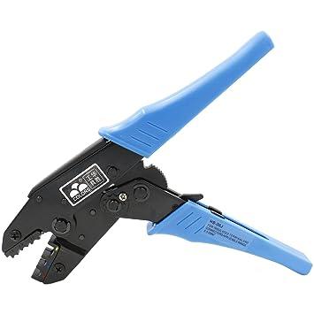 heschen trinquete crimpadora alicates terminales HS-30J aislados Cable crimpadora herramientas uso para 1 - 2,5 - 6 mm² (20 - 10 AWG) azul: Amazon.es: ...