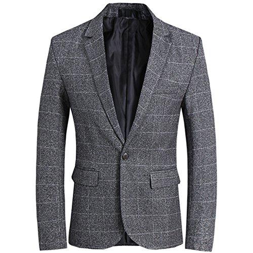 CCXO Men's Slim Fit Suits Casual One Button Flap Pockets Solid Blazer Jacket (XXXXXL, Dark Gray)