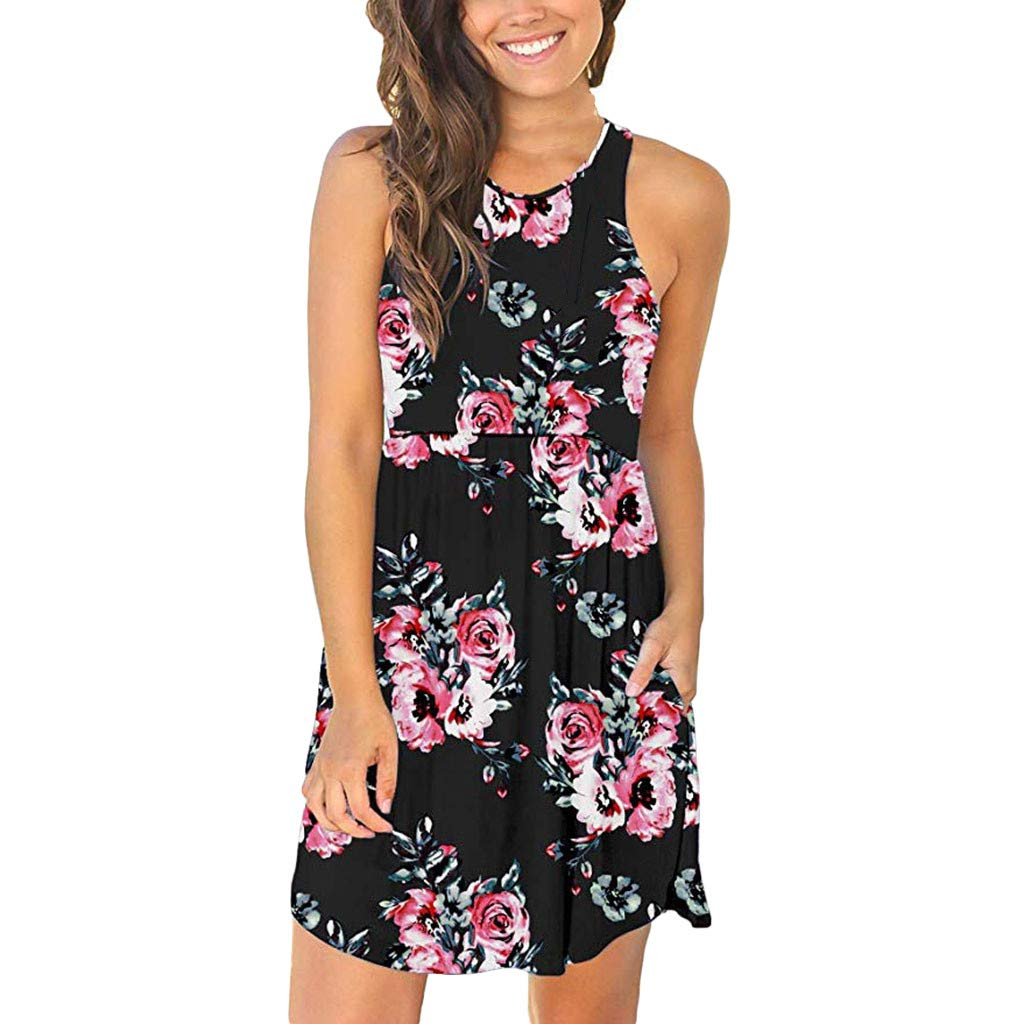 Dresses for Women Sleeveless Casual T Shirt Dresses Cover up Plain Pleated Tank Dress (S, Black)