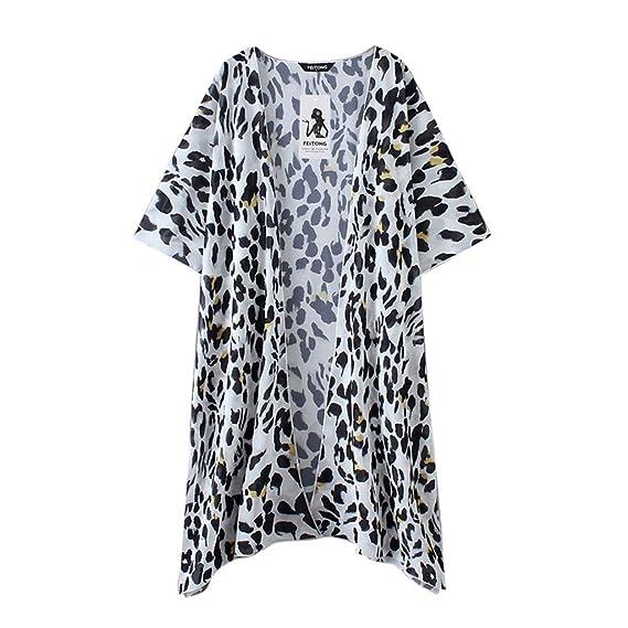 5c7b8c2603ec Outsta Clothing Women's Leopard Print Chiffon Kimono Long Cardigan Blouse  Shawl Loose Tops Outwear 2019 Clothing