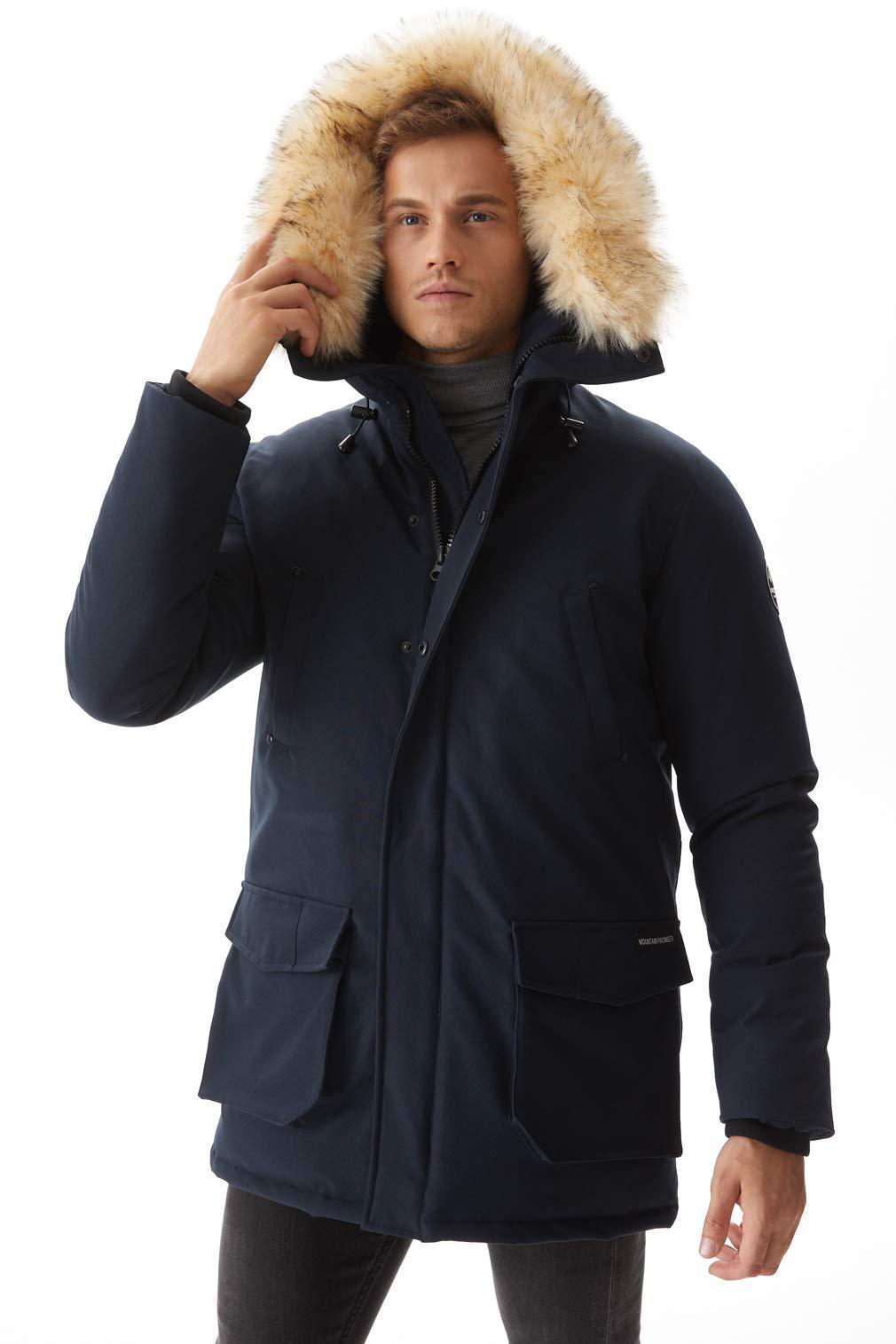Molemsx Mens Fur Parka, Faux Fur Classy Lined Warm Overcoat Outdoor Down Alternative Sports Ski Camping Expedition Insulated Mountain Ski Jacket Navy Medium by Molemsx