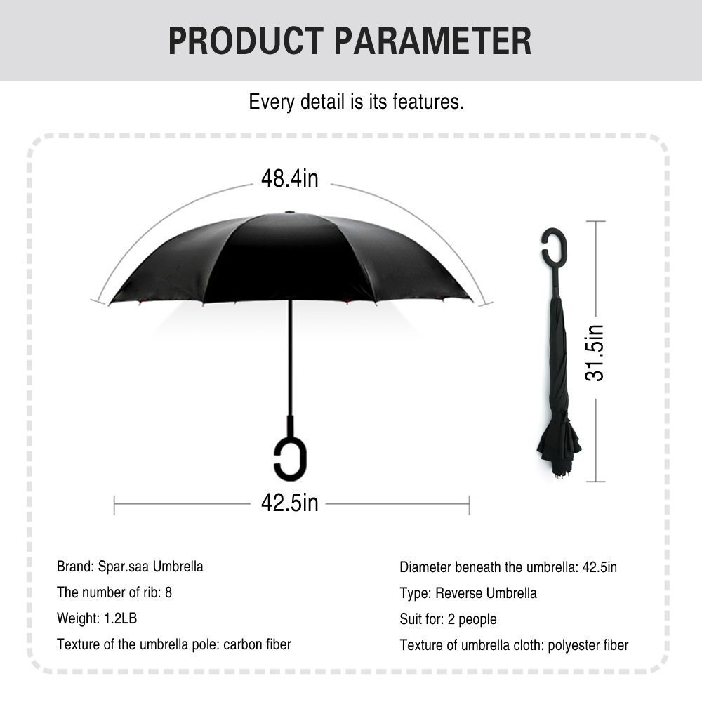Windproof Inverted Folding Umbrella,WJASI Double Layer Reverse Umbrella with UV Protection for Car Rain Outdoor Use, Upside Down Umbrella with C-Shaped Handle-White Clouds