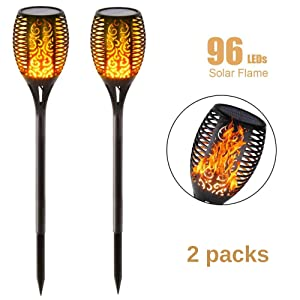 Solar Torch Lights, Waterproof LED Flame Torch Lights Flickering Torches with Realistic Flames Solar Powered for Outdoor Garden Landscape Decoration Path Lighting Dusk to Dawn Auto On/Off, Pack of 2