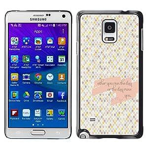 Caucho caso de Shell duro de la cubierta de accesorios de protección BY RAYDREAMMM - Samsung Galaxy Note 4 SM-N910F SM-N910K SM-N910C SM-N910W8 SM-N910U SM-N910 - Checkered Pattern Tiles Love Quote