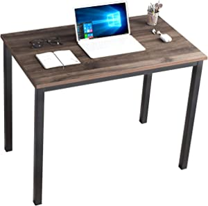 DlandHome 39 inches Small Computer Desk for Home Office Activity Table Writing Table for Small Spaces Study Table Student Laptop Desk (39 inch, Walnut)