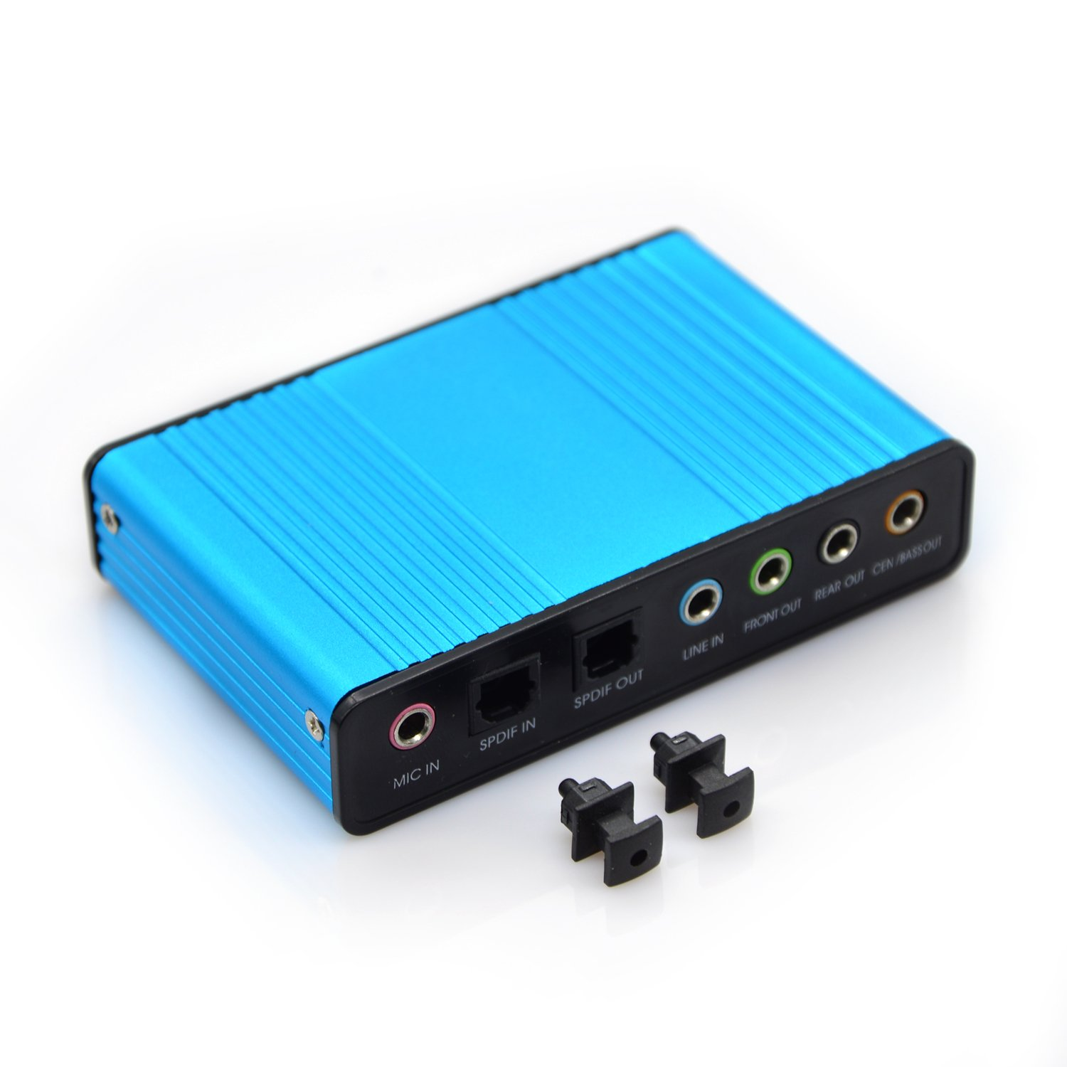 VAlinks Sound Card, 6 Channel External Sound Card USB 2.0 External 5.1 Surround Sound Optical S/PDIF Audio Sound Card Adapter for PC Laptop Recording Compatible with Windows 10/8 / 7/ XP,Blue