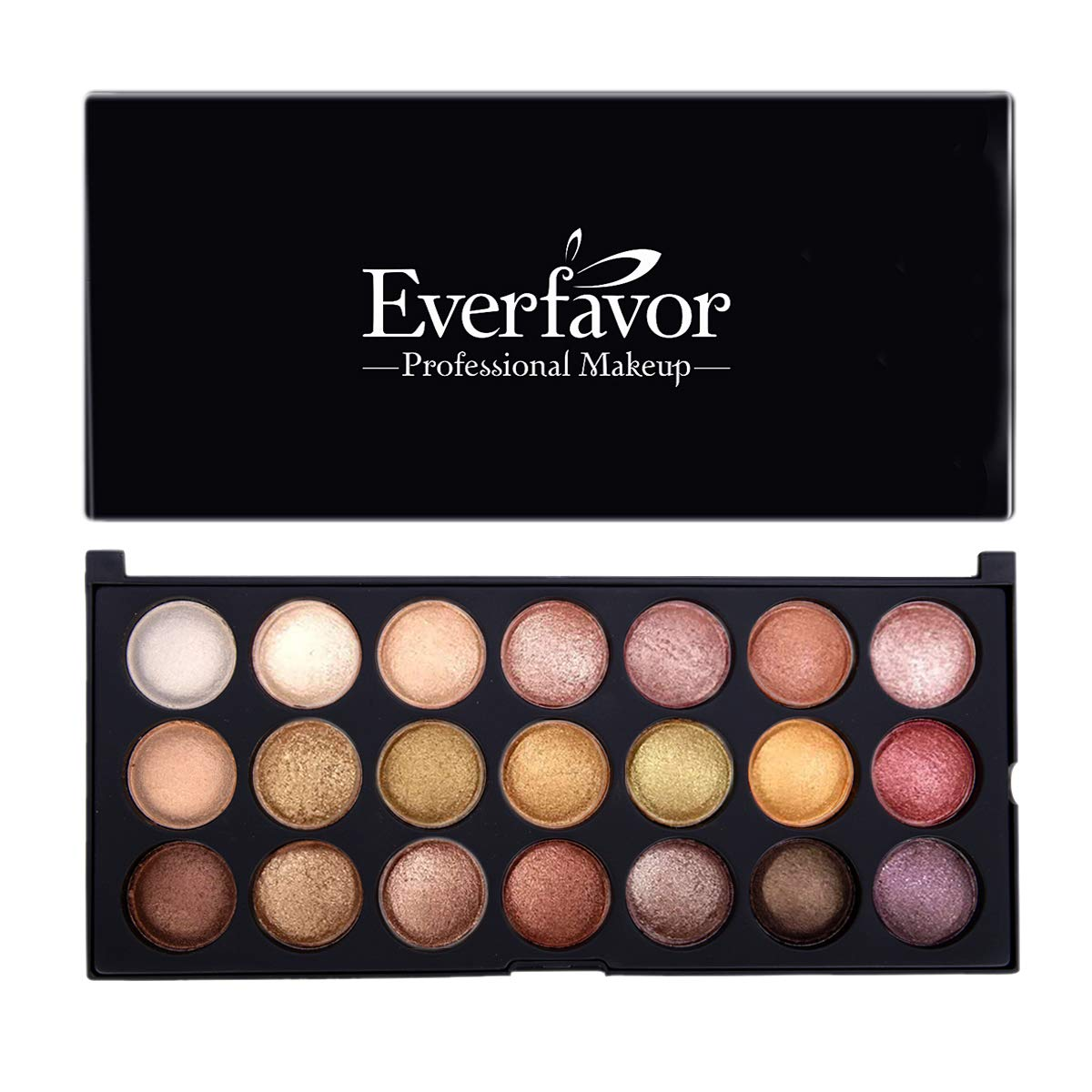 Eyeshadow Palette Makeup, Everfavor Pigmented Eye Shadow Nude Palettes - Professional 21 Colors Shimmer Warm Neutral Smoky Cosmetic Baked Eye Shadows (21 Colors, 09) by Everfavor