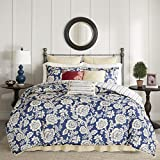 Madison Park Lucy Duvet Cover Queen Size - Navy, Ivory, Reversible Floral, Stripes Duvet Cover Set – 9 Piece – Cotton Twill, Cotton Poly Blend Reverse Light Weight Bed Comforter Covers