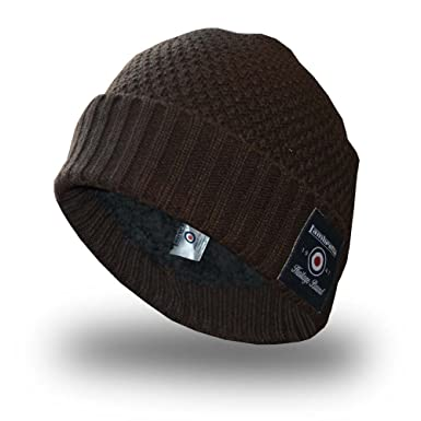 d379568a4fbe0 Lambretta Knitted Mens Womens Turn Up Skater Style Beanie Hat Waffle  Knitted- Khaki