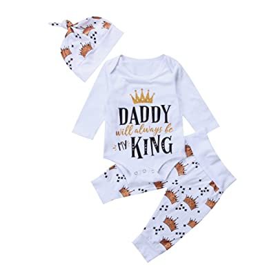 fe25385b5d14 3PCS Baby Girl Boy Letter Printed Crown Romper+Long Pants+Hat Outfits  Clothes