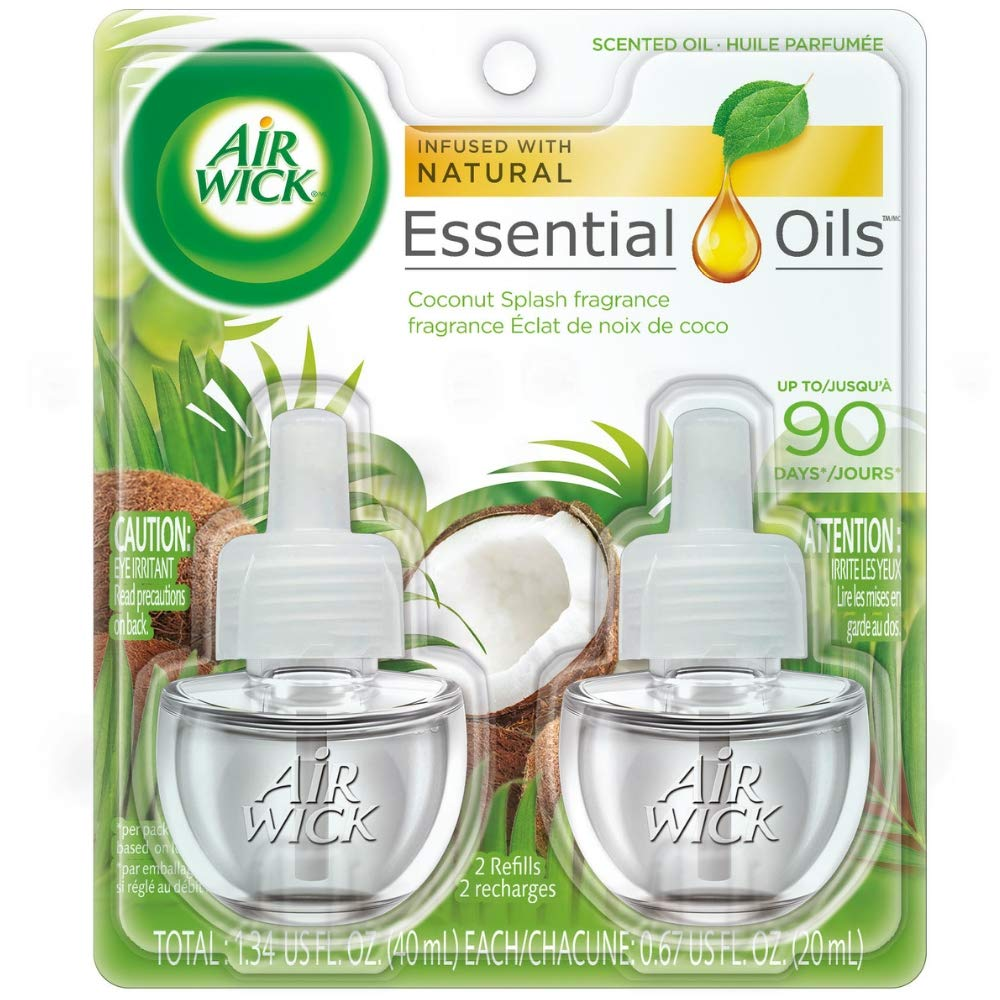 Air Wick Essential Oils Refill, Coconut Splash Scented Air Freshener (2 X .67) oz (Pack of 3)