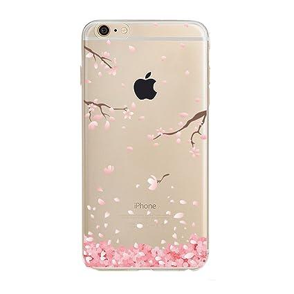 uk availability d180f ecdb9 PHEZEN iPhone 6 / 6S Case, iPhone 6 Clear Case, Cherry Blossom Flower  Series Design Transparent TPU Bumper Soft Silicone Rubber Skin Back Case  Cover ...