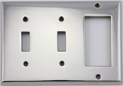 Polished Nickel 3 Gang Combination Switch Plate 2 Toggle Light Switch Openings 1 Gfi Rocker Opening Classic Accents Two Toggle One Gfi