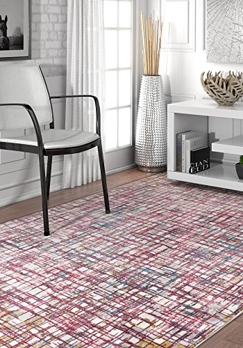 Basket Weave Multi-Color Modern Squares Geometric Area Rug 8x11 (7'10