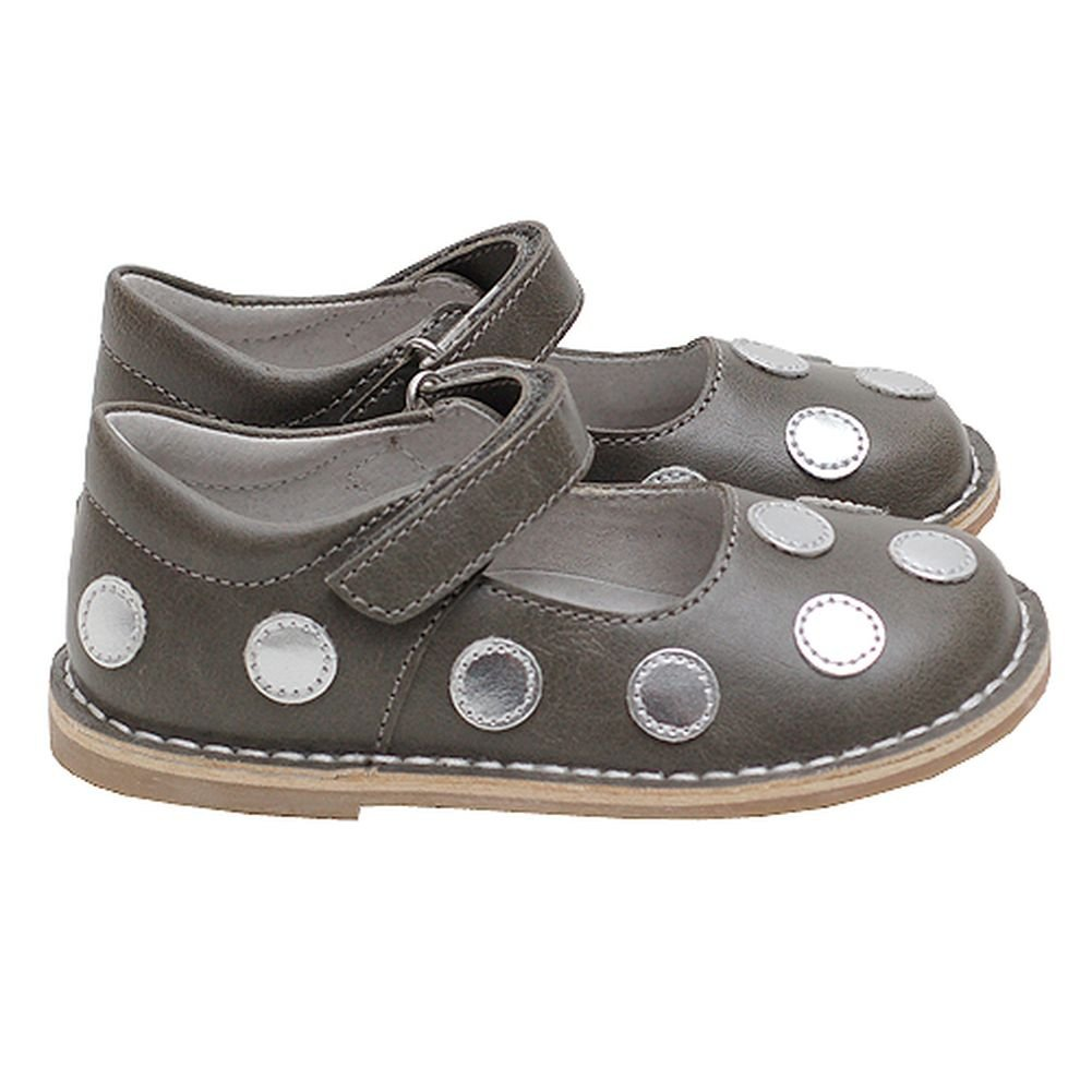 Gray Silver Polka Dot Toddler Girls Mary Jane Shoes Girls