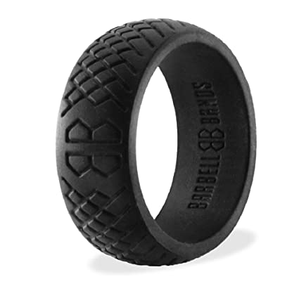 Amazon.com : Barbell Bands Silicone Ring For Men | Premium Rubber ...