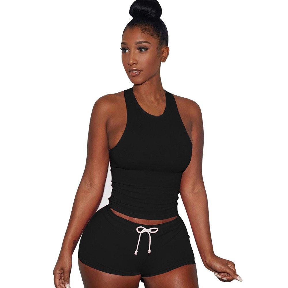 Women Split 2 Piece Set - Casual Sleeveless Short Pants Casual Outfit Sportswear,2019 New Black