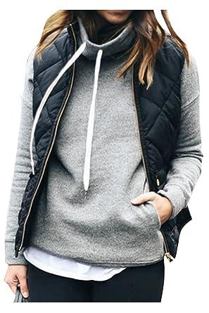 39475f68ac6 Fixmatti Womens Winter Outwear Lightweight Quilted Shorts Vest Jacket  Blazer Coat Black S