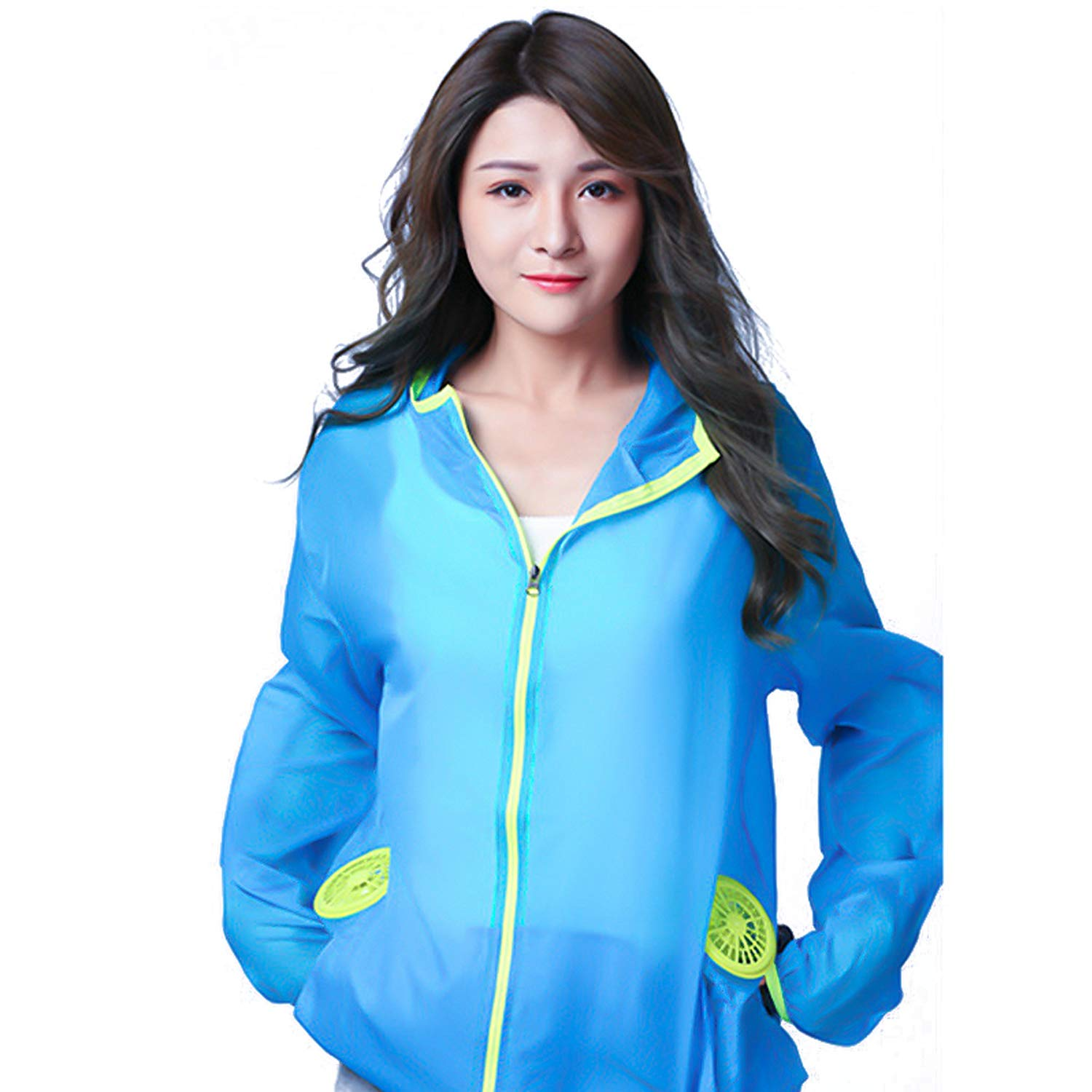 Bearhoho Summer Air Conditioning Suit USB Fan Jacket Quick-Drying Sunscreen Clothes for Outdoor Activities (Blue, S)