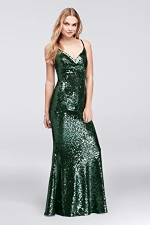 Davids Bridal allover Sequined Sheath Prom Dress With Back Strap Style 12479, Green, ...