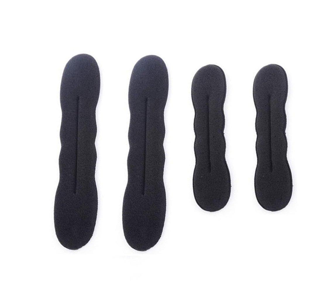4PCS(2 Small + 2 Large) Black Sponge Foam Bun Maker Shaper Curler/Hair Holder Magic Roll Bun Hair Twist Braiding Tool Hair Styling Accessories for Women Lady Girls Upstore