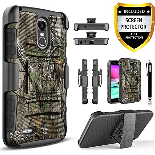 LG Stylo 3 Case, LG Stylo 3 Plus Case,[Combo Holster] And Built-In Kickstand Bundled with [Premium Screen Protector] Hybird Shockproof And Circlemalls Stylus Pen For LG Stylo 3/LG Stylo 3 Plus (Camo)