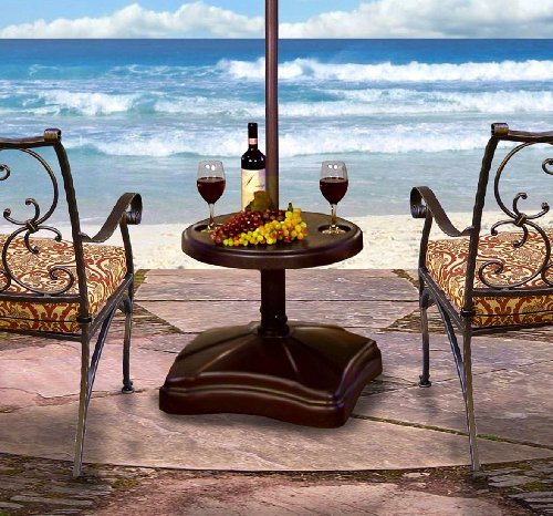 Shademobile RU22-6250 Rolling Umbrella Stand and Accessory Table, Bronze (Rolling Shades For Patio)