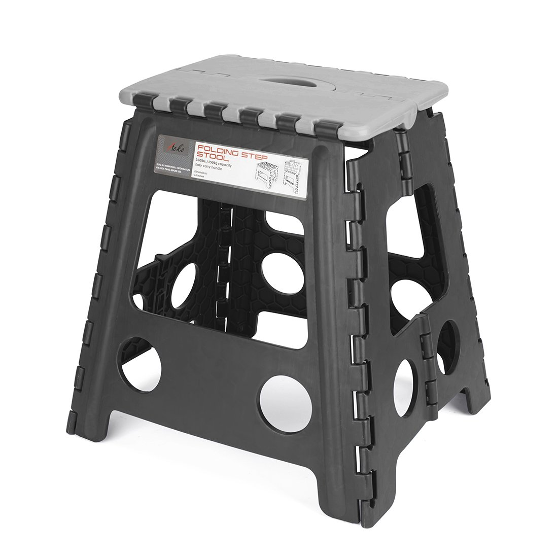 Acko 16 inches Folding Step Stool for Adults and Kids Kitchen and Garden Step Stool Black Matching Grey Color (Black+Grey)