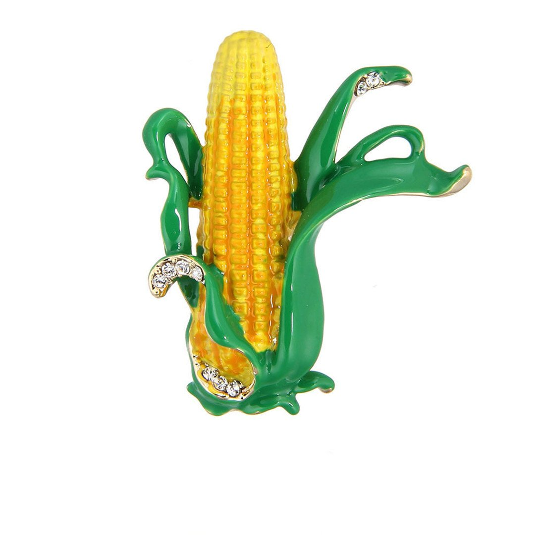 Nice Yellow Corn Maize Brooches Green Enamel Leaves Farmer Plant Brooch Scarf Collar Suit Clips Gold-Color Pins Jewelry