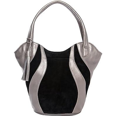 f1cd3f97b790 Derek Alexander Double Handle Shoulder bag (Silver/Black): Handbags ...