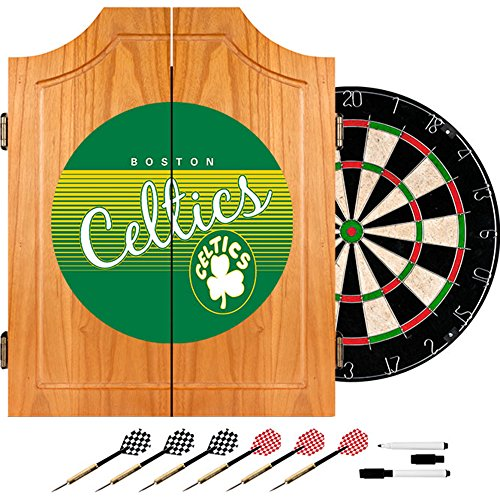 NBA Boston Celtics Wood Dart Cabinet Set, One Size, Brown