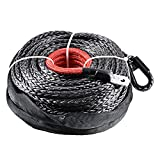 95ft x 3/8'' 20000+ LBs Synthetic Fiber Winch Line Cable Rope (Black without Hook)