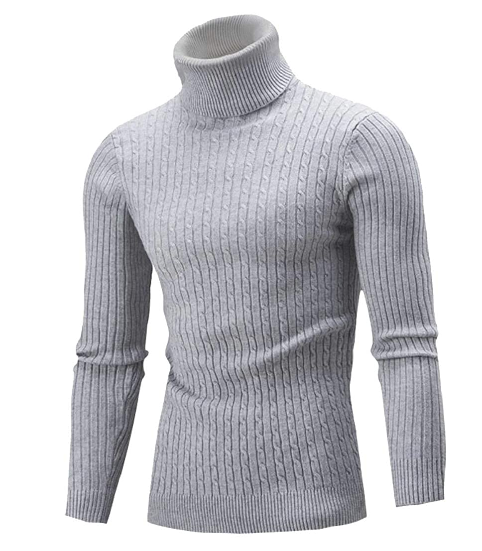 Generic Mens Fashion High Neck Knitting Solid Slim Pullover Sweaters
