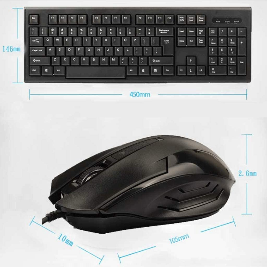XXW Wired Keyboard and Mouse Set Desktop Computer Mouse and Keyboard USB Notebook External Home Office Durable Wearable