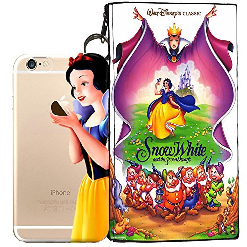Disney Little Mermaid (Ariel), Peter Pan, Snow White, Lilo & Stitch, Mickey & Minnie Mouse, Nightmare Before Christmas Jelly Clear Case for Apple iPhone 7 (+ zipper pouch) (Snow White)