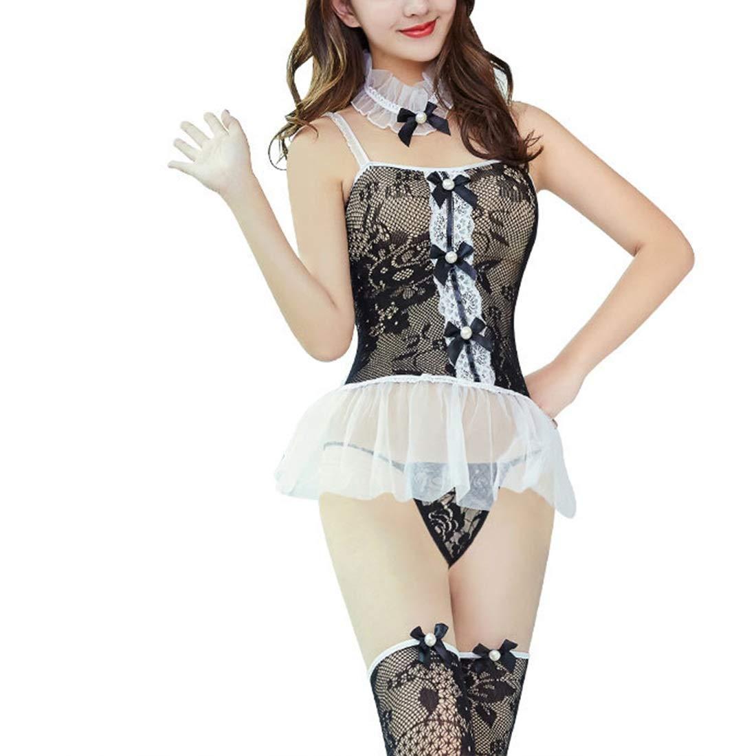 Diversión Bragas sexy ArtHalle Lencería Sexy para Mujer Camisón Bragas Diversión de Onesies con Traje de Encaje de Liga Hollow (Color : Black, Size : One Size) fd2858