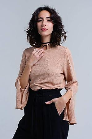 Q2 Top Acanalado Beige con Divisiones Camisa para Mujer: Amazon.es: Ropa y accesorios