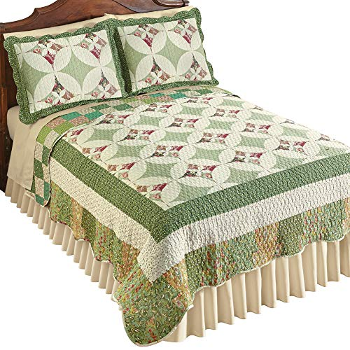 Collections Etc Jenna Patchwork Kaleidoscope Quilt, Green, Green Multi, King