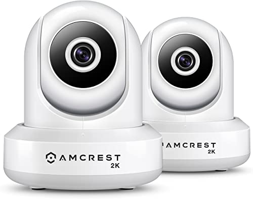 2-Pack Amcrest UltraHD IP3M-941W 2K 3MP 2304TVL WiFi IP Camera w Pan Tilt, Dual Band 5ghz 2.4ghz, 90 Degree FOV White
