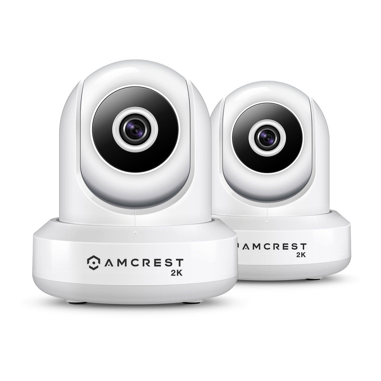 2-Pack Amcrest UltraHD IP3M-941W 2K 3MP 2304TVL WiFi IP Camera w Pan Tilt, Dual Band 5ghz 2.4ghz, 90 Degree FOV White