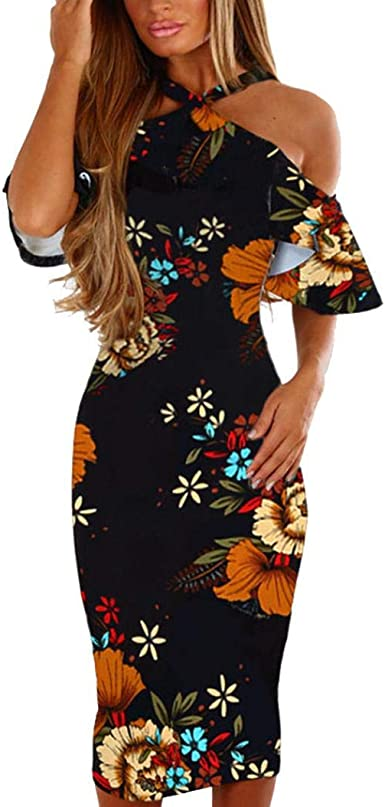 Summer Women Floral Sleeveless Bodycon Dress Ladies Casual Evening Party Dress
