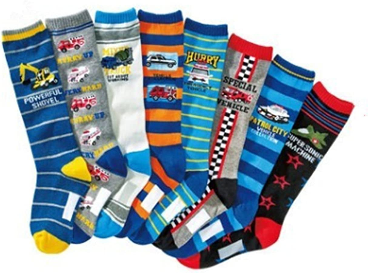 Boys Colorful Stripe Stocking Youth Pattern Knee High Cotton Socks 8 Pairs