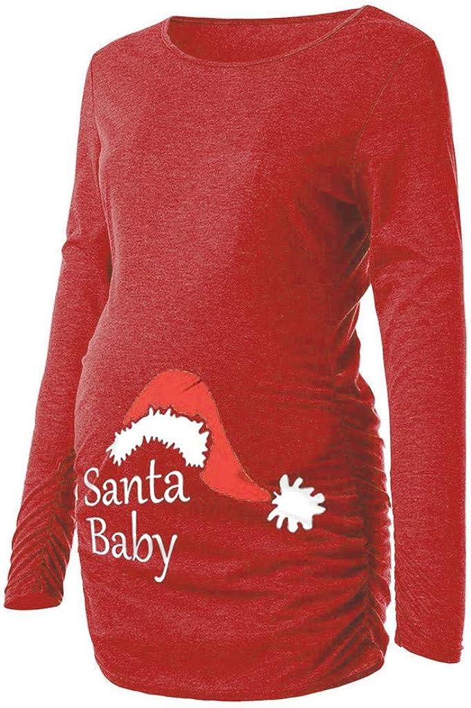 Jchen Women Christmas Santa Print Long Sleeve Maternity Tops Pregnancy Blouse T-Shirt TM