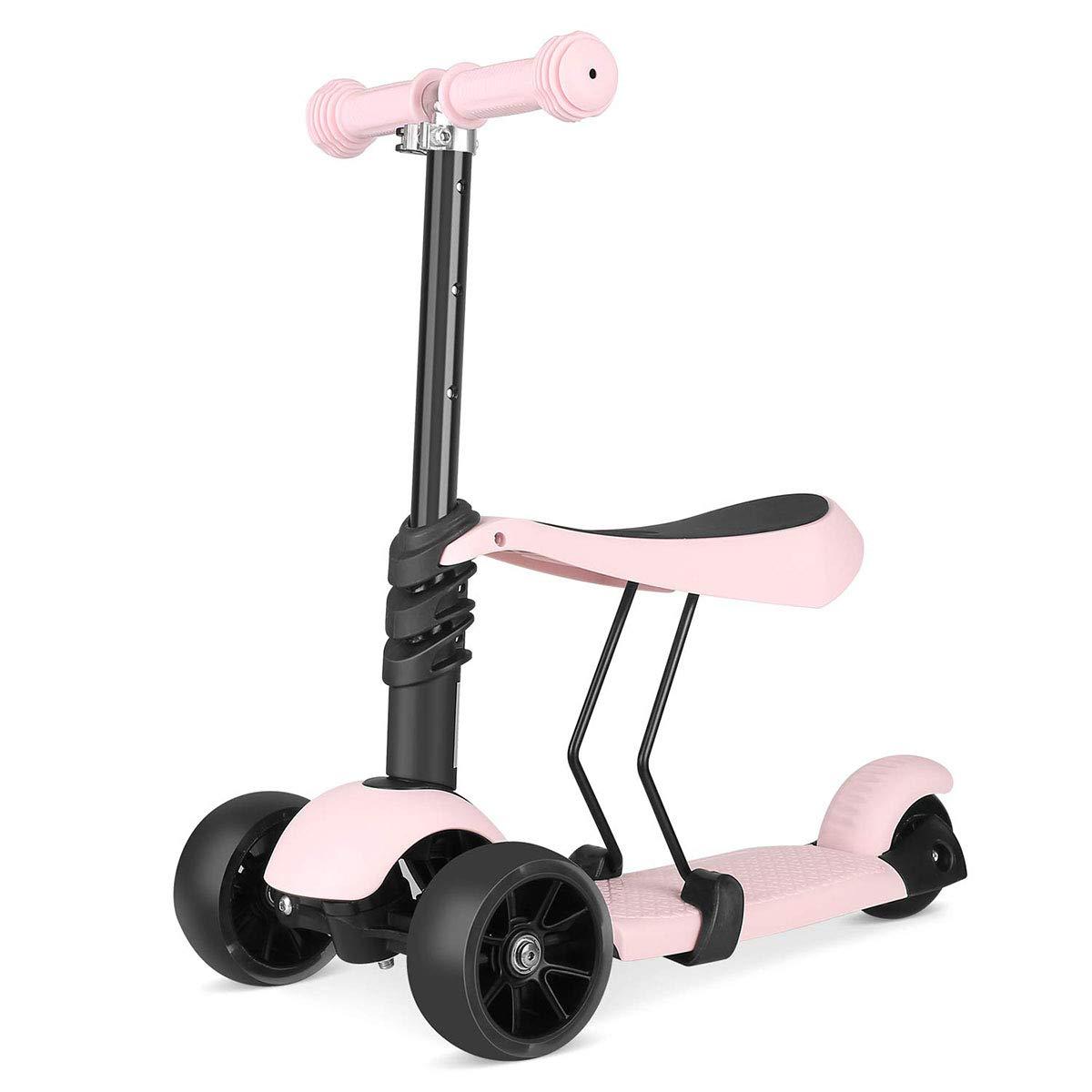 キッズキックスクーター、バランスバイク調整可能な3つのホイールは、リムーバブル & 調整可能シートとスクーターをキック、LED ライトボーイズガールズエイジのためのホイール2-6   B07P8JPLMV