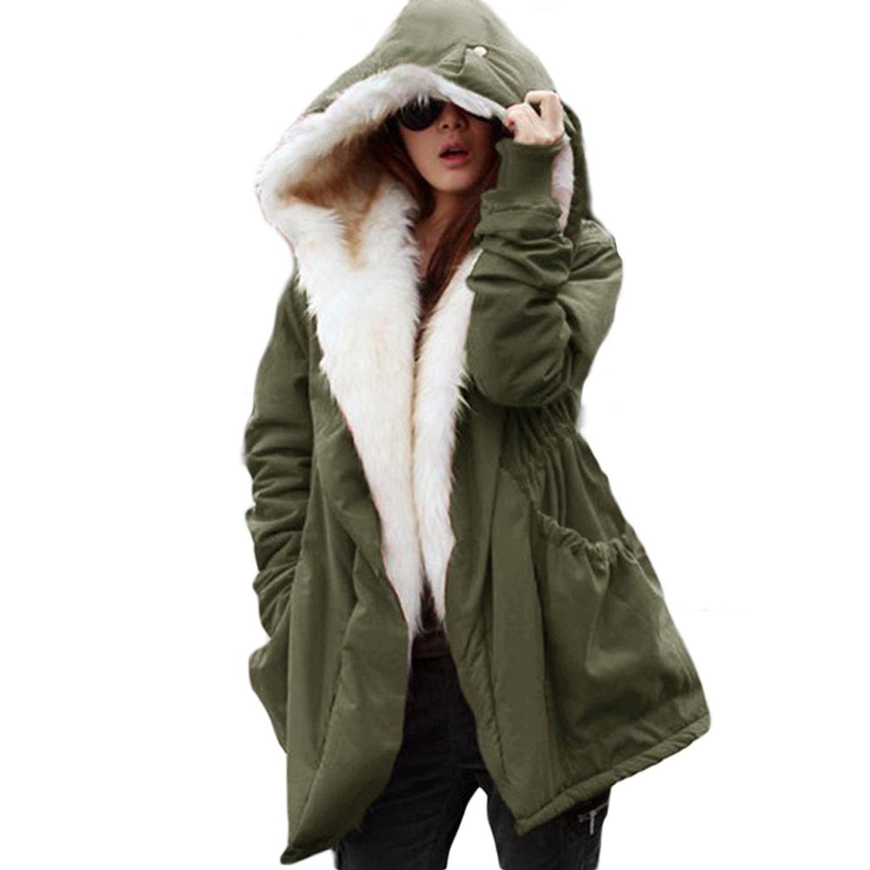 Rela Bota Womens Winter Casual Hoodie Coat Military Jacket Parkas Long Trench Overcoat Medium Green