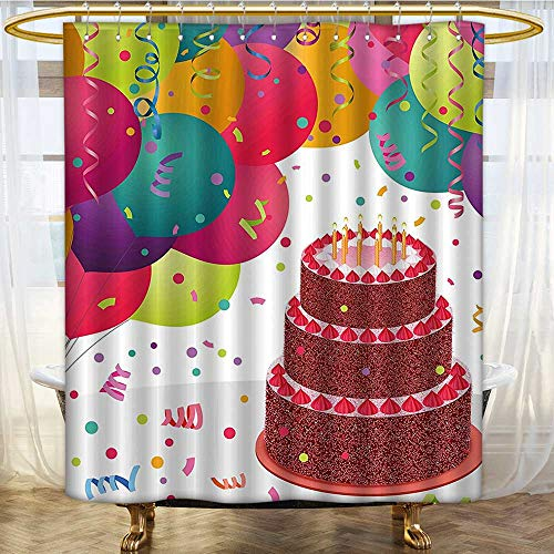 Mikihome Shower Curtain Collection by Strawberry Triplex Cake Candles Ribbons Balloons Newborn Celebration Patterned Shower Curtain W72 x H96 inch